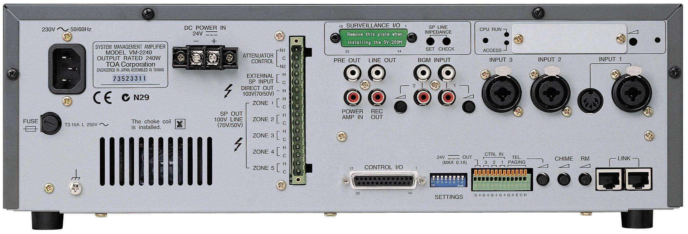 Bộ thông báo 5 vùng 240W: TOA VM-2240
