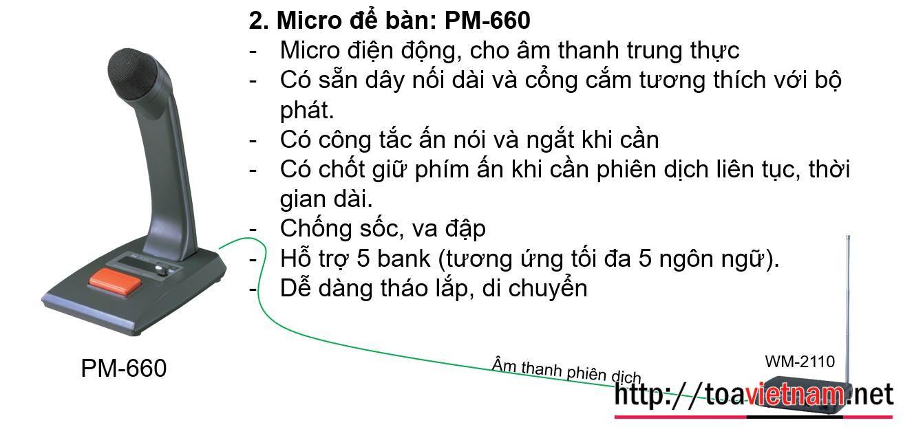 Micro để bàn cho phiên dịch viên