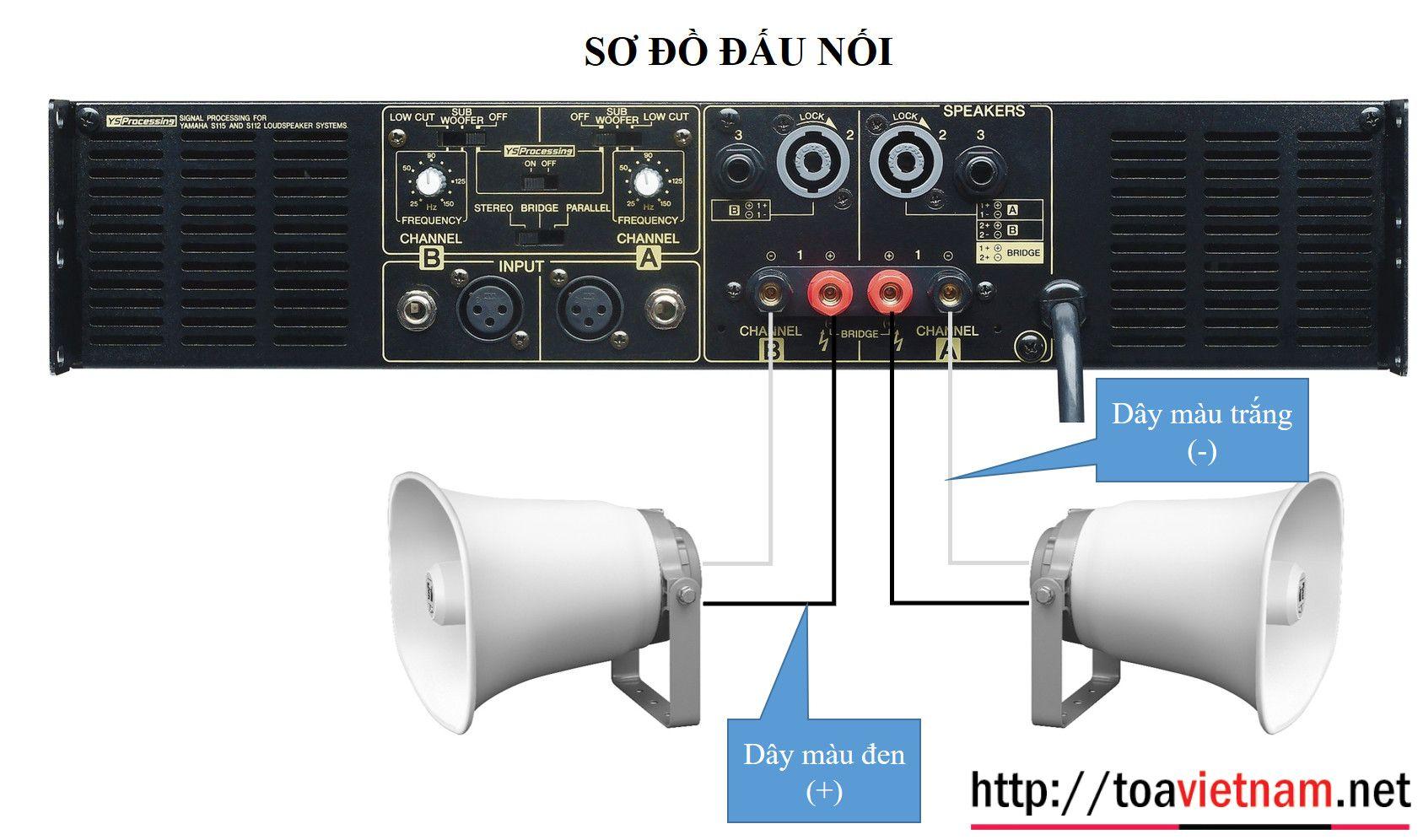 Hướng dẫn lắp đặt SC-651 với tăng âm Yamaha P3500S