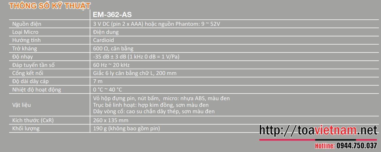 Thông số kỹ thuật EM-362-AS
